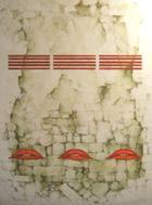 Uma parede, três persianas e seis lábios | Pintura | 2008