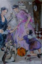 A Cinderela, a Fada Madrinha e as mulheres-passarinho   Pintura   2011